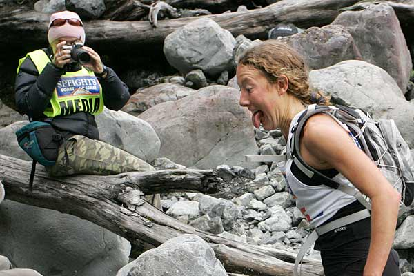 Chrissie Wellington pokes her tongue out for the cameras at Big Boulders in the mountain run during the first day of the two day event in the Speights Coast to Coast.