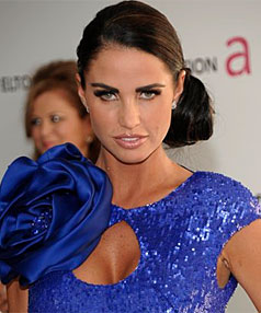 ATTRACTING HEAT: Katie Price arrives at the Elton John Oscar Party.