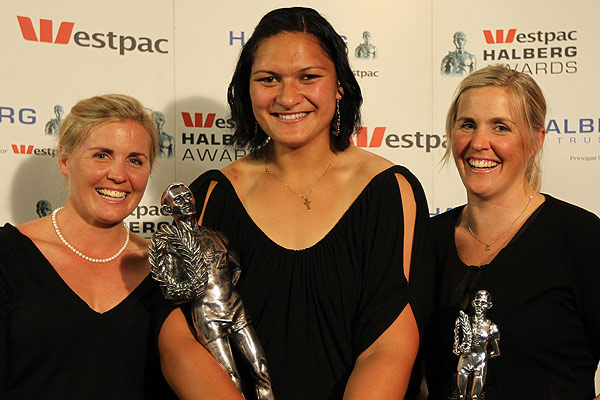 Valerie Vili at this year's Westpac Halberg Awards in Auckland, along with the Evers-Swindell twins Georgina Earl and Caroline Meyer.
