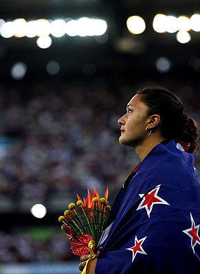 Valerie Vili, after winning the women's shot put at the Melbourne Commonwealth Games in 2006.