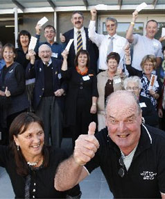 OUTSTANDING RESULT: The annual Central South Island Charity Bike Ride has raised the largest amount yet  $136,000 for  charities. Co-ordinators Sharyn Nolan, left,  and Morrell McFetrich lead the celebrations.