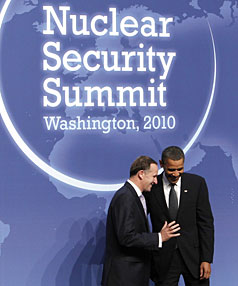 Prime Minister of New Zealand Key talks with US President Obama at the Nuclear Security Summit in Washington.