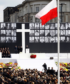 REMEMBERING: The commemoration service for late Polish President Lech Kaczynski and other plane crash victims at the Pilsudski square in Warsaw.
