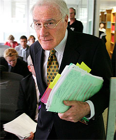 Law Commission President Sir Geoffrey Palmer enters the room where the press conference on the Liquor Law Reform was announced.