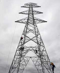 TOWER OF POWER: Transpower's first pylon on its North Island grid upgrade, near Maramarua, is almost complete.