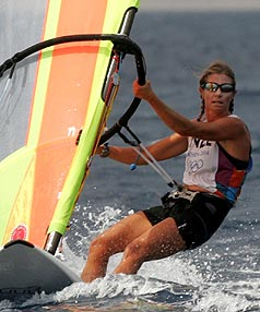 New Zealand's Barbara Kendall competes at the 2004 Athens Olympics.