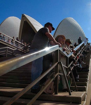 Thousands of people packed Sydney's Opera House to see Watson sail into Sydney harbour.
