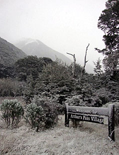 Snow is falling in Arthurs Pass this morning. This photograph was taken by Department of Conservation staff in the village today.