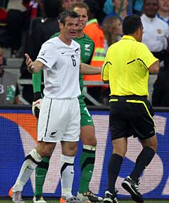 WHAT?: All Whites captain Ryan Nelsen questions the referee.