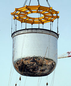 Safety concerns: A nearly 200-tonne nuclear reactor safety vessel is erected at the Indira Gandhi Centre for Automic Research at Kalpakkam.