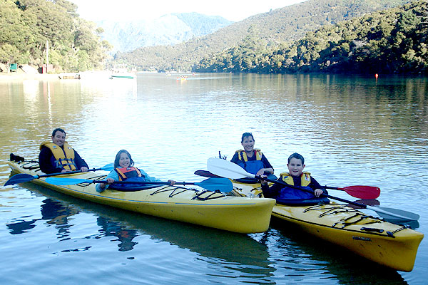 POPULAR PLACE: Renwick School pupils enjoy a kayaking excursion at Mistletoe Bay. The Eco Village at the Bay provides accommodation for school groups from around New Zealand, as well as tourists and families.