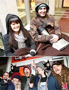 HARD CORE: From top left: Christie Porter, Lance Bradford, Paul Gailbraith, Marie Ashto, Brendon Ponder, Jason Broadway and Aaron McNall queue for Metallica tickets.