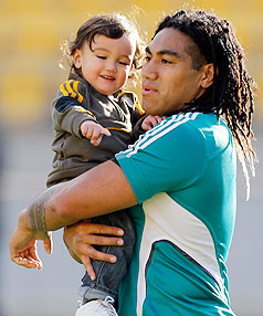 THAT'S MY BOY: All Blacks midfield back Ma'a Nonu takes his son Mercury, 20 months,  for a trial run at Westpac Stadium this week.