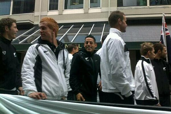 All Whites World Cup squad members soak up the atmosphere of their ticker tape parade in Wellington.