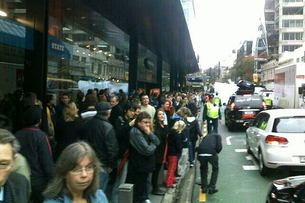 Wellington's Willis Street is packed as people await the All Whites World Cup squad's ticker tape parade.