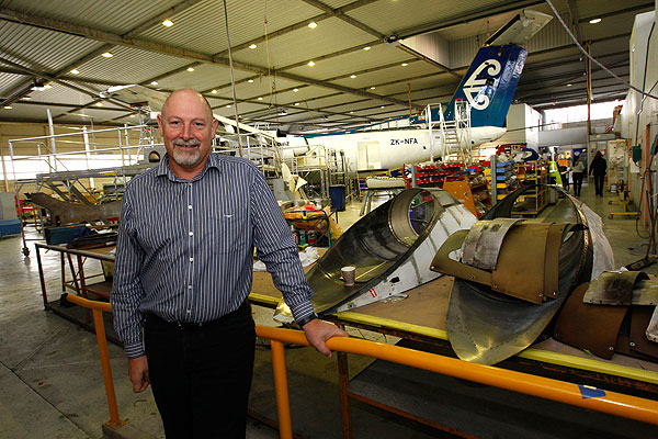 ROOM TO GROW: Air Nelson technical manager Rob Burdekin in the older part of the hangar at Nelson Airport.