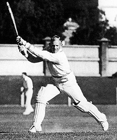 Eric Tindill the cricketer on the drive in a picture from the 1930s.