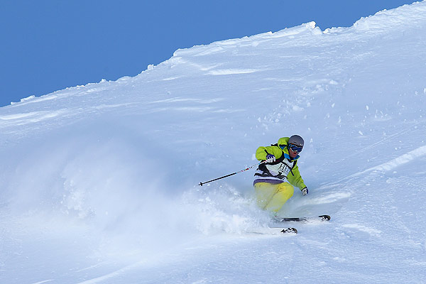 Sam Smoothy of New Zealand competes during the Extreme Day of the World Heli Challenge at Mount Aspiring National Park.