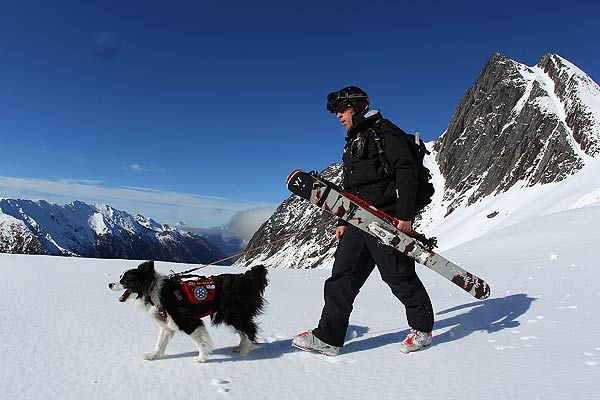 Matt Gunn of New Zealand and his search and rescue dog 'Blizzid' walk to the drop zone during the Extreme Day of the World Heli Challenge at Mount Aspiring National Park.