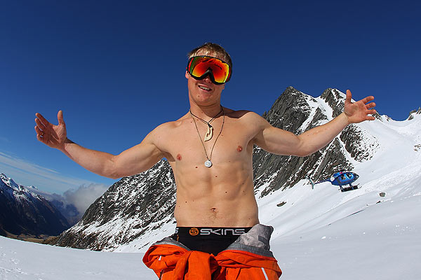 Luke Potts of Great Britain poses during Freestyle Day of the World Heli Challenge at Mount Aspiring National Park.