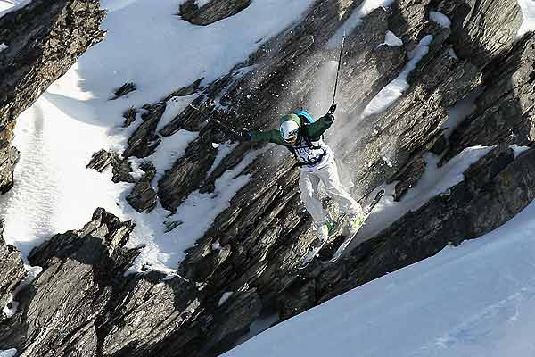 Janina Kuzma of New Zealand competes during the Extreme Day of the World Heli Challenge at Mount Aspiring National Park.