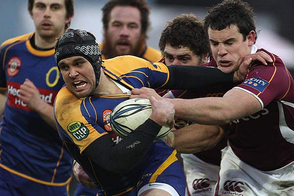 Ryan Shortland of Otago is tackled during the Ranfurly Shield round two ITM Cup match between Southland and Otago at Rugby Park, Invercargill.