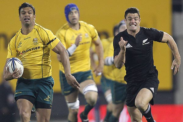 Australia's Kurtley Beale breaks away to score a try during the Tri-Nations Bledisloe Cup match in Christchurch.