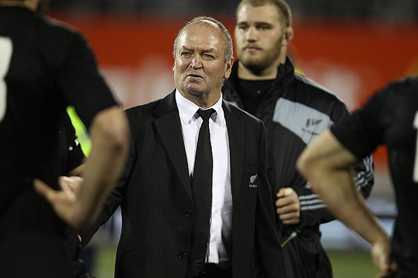 All Blacks coach Graham Henry congratulates the team after retaining the Bledisloe Cup against Australia in Christchurch.