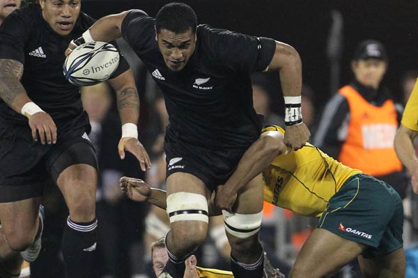 All Black Jerome Kaino on the burst supported by Ma'a Nonu during the Bledisloe Cup match in Christchurch.