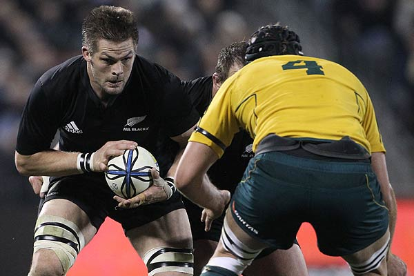All Blacks captain Richie McCaw in action during the Bledisloe Cup match in Christchurch.
