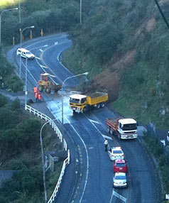 LANE BLOCKED: Police advised motorists to use other routes while contractors cleared the slip.