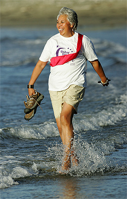 Winnie Laban taking part in The relay for Life, on Titahi Bay Beach.