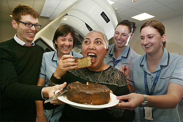 Cancer survivor and Labour MP Winnie Laban with staff from Wellington hospital, celebrating her 53rd birthday.