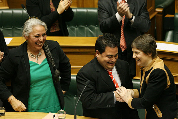 Winnie Laban and Helen Clark congratulate Labour MP Charles Chauvel after he gave his maiden speech in Parliament.