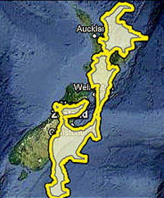 The area affected by the 2010 Pakistan floods as shown over New Zealand.