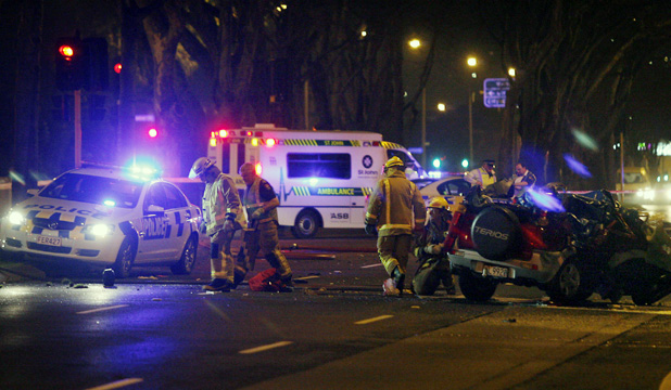 Emergency services at the scene of a crash