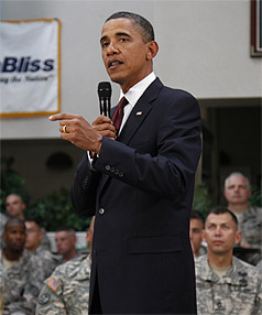 COMBAT OVER: Obama thanked troops in Texas before delivering an evening address to the nation.