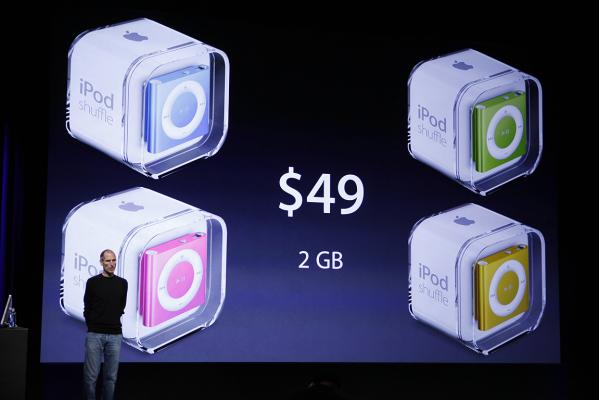 Apple CEO Steve Jobs talks about pricing of the new Apple iPod Shuffle at a news conference in San Francisco.