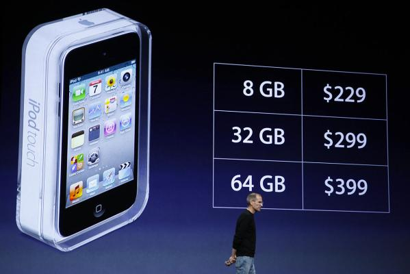 Steve Jobs talks about pricing for the new iPod Touch.