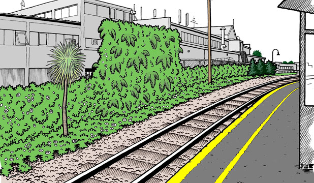 GREEN WALL: Auckland city councillor Graeme Easte commissioned Grey Lynn cartoonist Barry Linton to produce an artist's impression of how a green wall at the Mt Albert railway station might look.