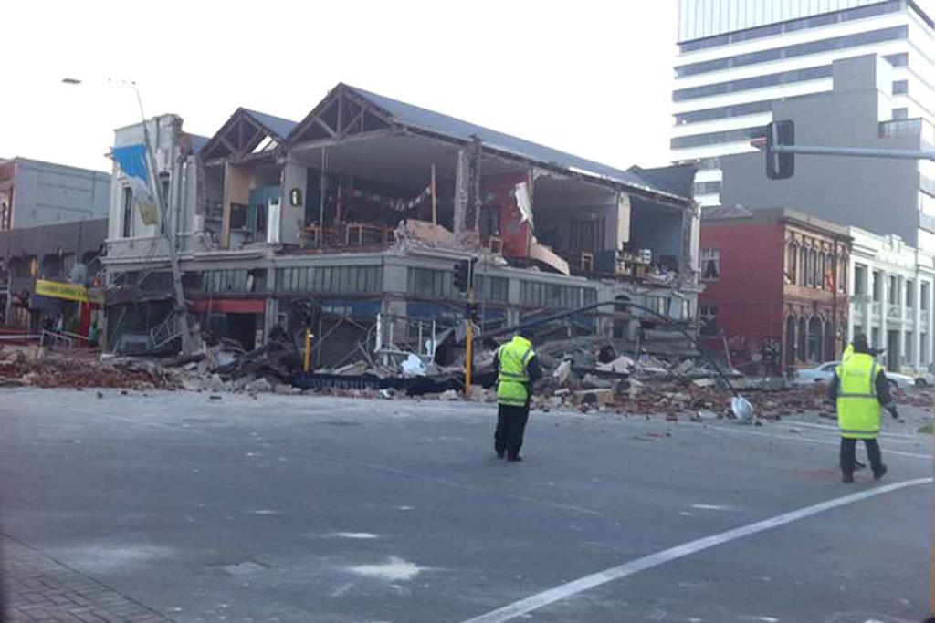 A Christchurch street after a massive earthquake hit this morning.