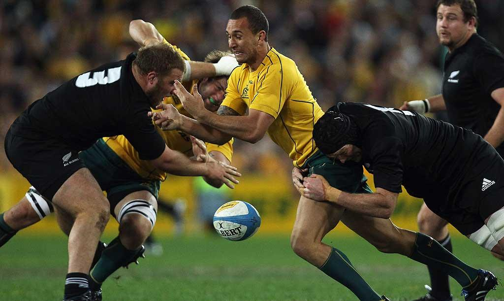 Quade Cooper loses the ball during the 2010 Tri-Nations Bledisloe Cup match between the Wallabies and the All Blacks at ANZ Stadium in Sydney.