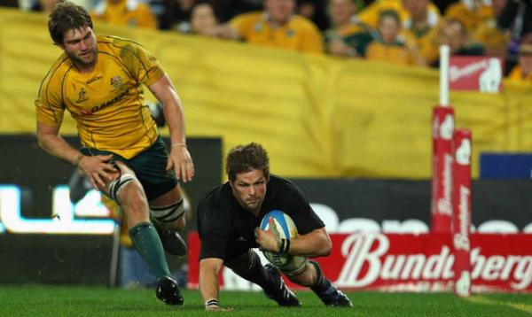 All Blacks captain Richie McCaw scores his team's first try against Australia in the test at Sydney's ANZ Stadium.