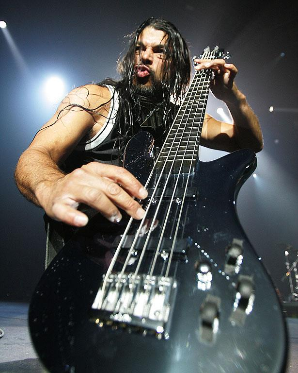 ANGER THERAPY: Robert Trujillo performs with Metallica in Christchurch.