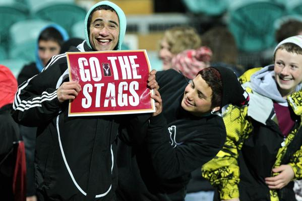 A loyal Southland fan smiles during the team's successful defence of the Ranfurly Shield against Auckland in Invercargill.