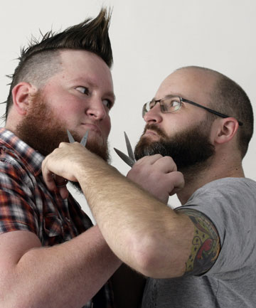 BEARD BROTHERS: Jeremy Mayall and Jason Hansen hope to represent New Zealand at next year's World Beard and Moustache Championships in Norway.