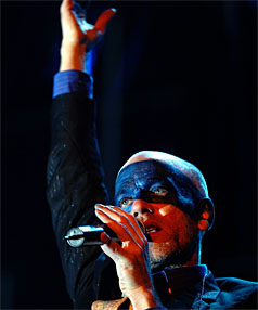 THE BLUES: R.E.M's Michael Stipe sings Everybody Hurts, making the boys cry.