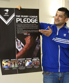 HIGH VALUES: Paul Lafotanoa with the rugby league pledge, a main message of the sport.