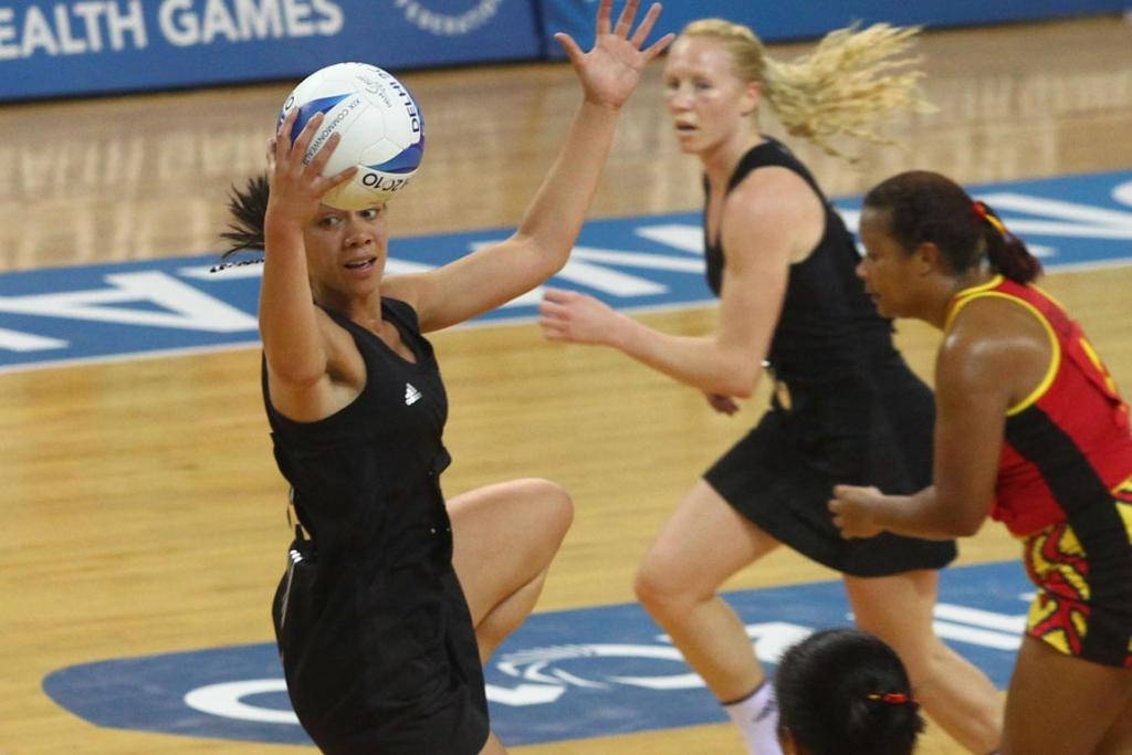 New Zealand's Grace Rasmussen claims possession during the Silver Ferns' big win over Papua New Guinea at the Commonwealth Games in Delhi.