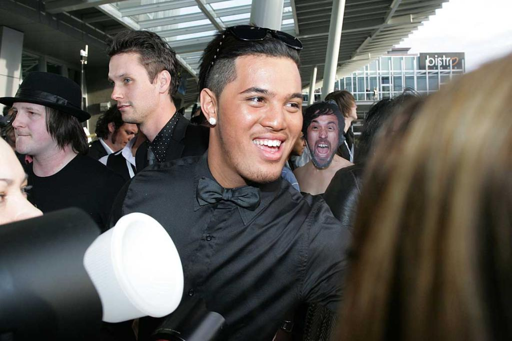 Stan Walker braves the crowds at Vector Arena before the New Zealand Music Awards.